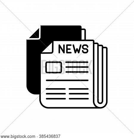 Newspaper Black Linear Icon. Mass Media, Postal Service, Journalism Outline Symbol On White Space. D