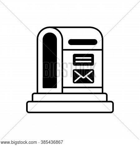 Parcel Post Black Linear Icon. Public Postal Service Outline Symbol On White Space. Mail Transportat