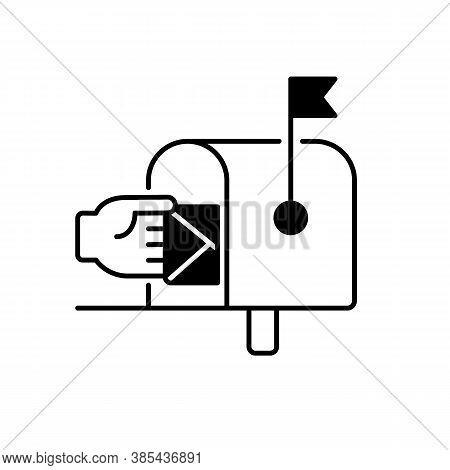 Mailbox Black Linear Icon. Postal Service, Mail Delivery Outline Symbol On White Space. Traditional
