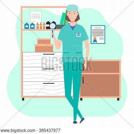 Veterinary Care. Veterinarian Doctor Female Character In The Medical Office. Nurse In A Medical Room