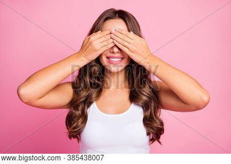 Photo Of Pretty Funny Lady Hiding Eyes Toothy Smiling Playing Hide-and-seek Game With Little Brother