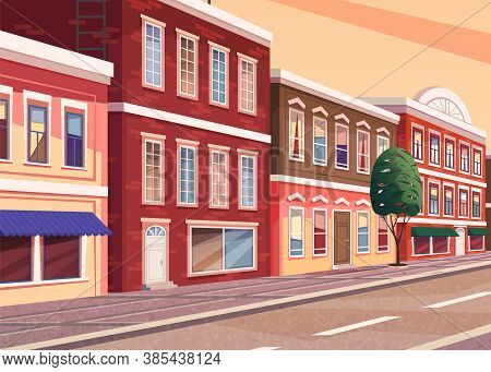 Street Of Town Cartoon Illustration Of The Historic City Area. Cityscape With Vintage Brick Building