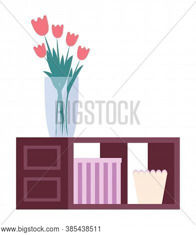 Bedside Table With Flower In Vase And Box . Wooden Table, Bedside Table Fashionable Furniture Interi