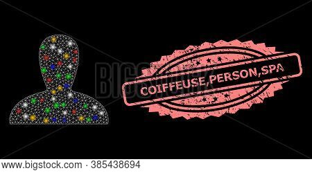 Bright Mesh Web Spawn Persona With Flash Nodes, And Coiffeuse, Person, Spa Dirty Rosette Stamp Seal.