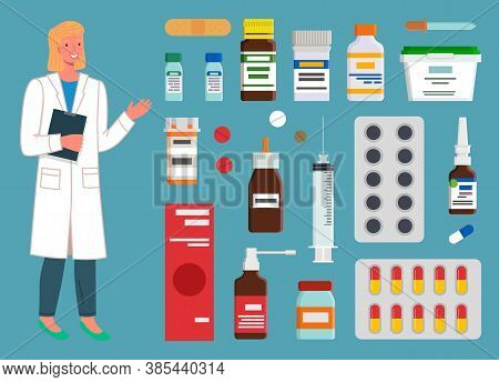 Medicine, Pharmacy, Hospital Set Of Medicines In Various Forms. Medication, Pharmaceutics Concept. N