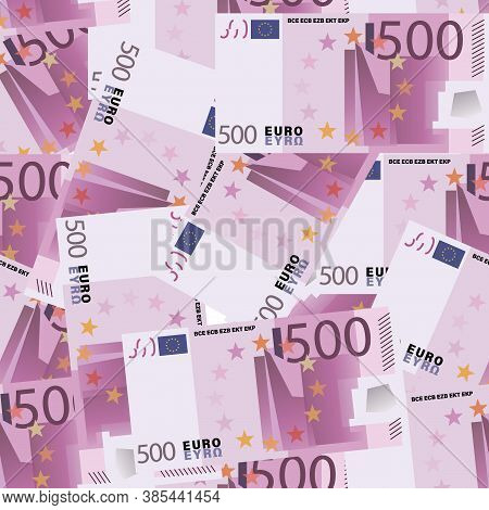 Euro Background. 500 Euro Bills. Cash. Five Hundred Euro Banknotes Seamless Pattern.