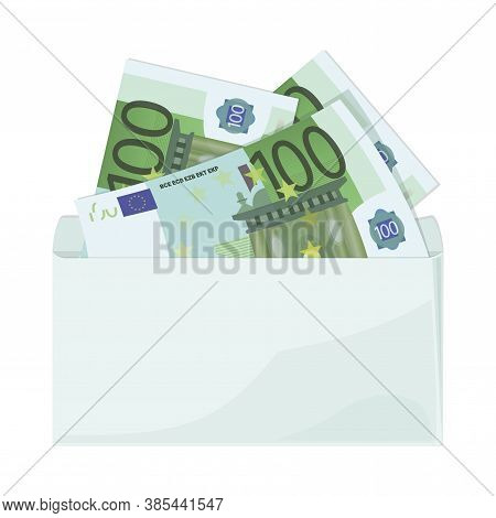 Euro. Cash. 100 Euro Bills. Money In An Envelope. Banknotes Isolated On White Background. 100 Euro