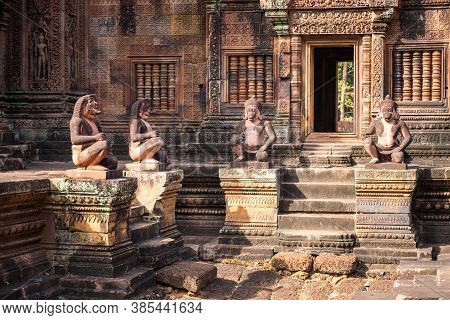 The Ancient Guardian Statue In Banteay Srei A 10th-century Cambodian Temple Dedicated To The Hindu G