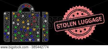 Glare Mesh Net Luggage With Light Spots, And Stolen Luggage Grunge Rosette Stamp Seal. Illuminated V