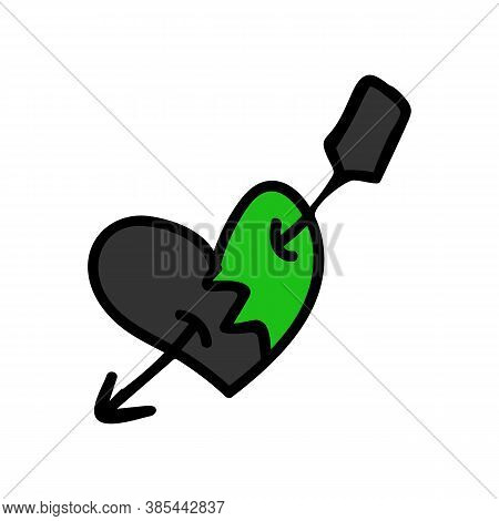 Punk Rock Heart Vector Illustration Clipart. Simple Alternative Sticker. Kids Emo Rocker Cute Hand D