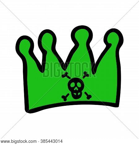 Punk Rock Crown Vector Illustration Clipart. Simple Alternative Sticker. Kids Emo Rocker Cute Hand D