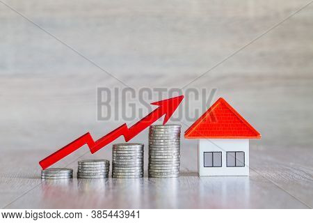 Orange Roof House Coins Are Arranged In Order From Low To High And Red Arrows, Symbols, Graphs Or Bu