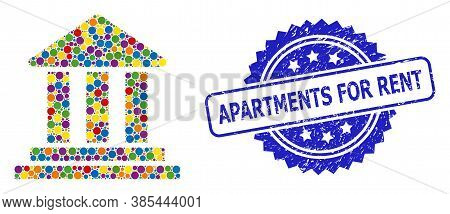 Bright Colored Mosaic Bank Building, And Apartments For Rent Textured Rosette Stamp Seal. Blue Stamp