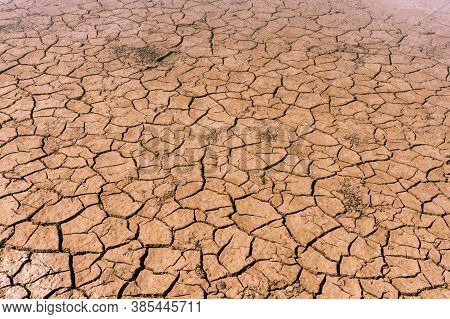 Brown Dry Soil Or Mud Texture, Background.