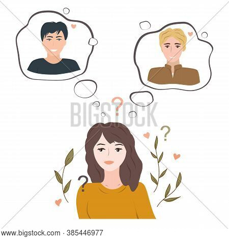 Undecided Teenage Girl Doubting Between Two Loves. Young Woman Thinking About Two Handsome Guys And