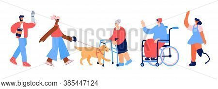 Set Of Characters With Disabilities. People With Leg And Hand Prothesis, Young Man In Wheelchair, Bl