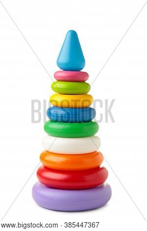 Pyramid Toy Isolated On White Background, Cut Out