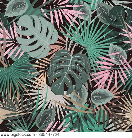 Seamless Vector Floral Summer Pattern Background With Tropical Palm Leaves. Elegant Pastel Palette.