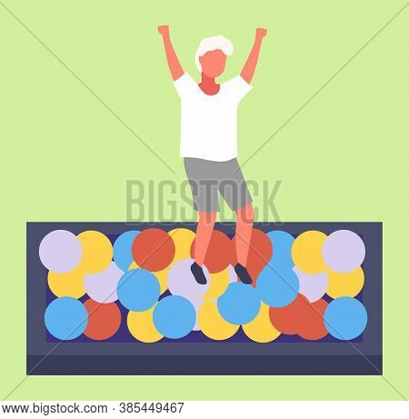 An Active Child In A Pool With Colorful Balls In The Entertainment Room. Playroom. Active Rest. Havi