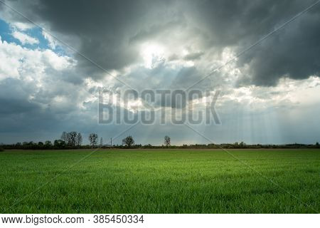 Sunrays And Clouds Over A Green Field