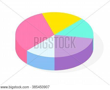 Pie Chart For Analysis Statistic Info. Isometric Pie Chart Visual Presentation Infographic. Financia