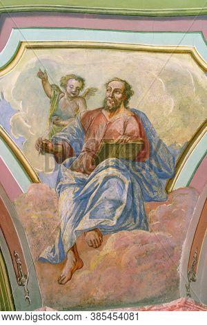 OROSLAVLJE, CROATIA - MAY 27, 2013: Saint Matthew the Evangelist, fresco in the parish church of the Assumption of the Virgin Mary in Oroslavlje, Croatia