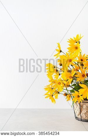 Yellow Flowers Bouquet On White Background. Autumn Composition, Fall Mood. Thanksgiving Greeting Car