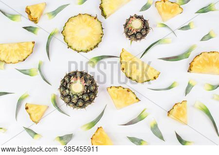 Single Whole Pineapple. Sliced Pineapple In Exotic Summer Fruit Design White Background Top View Moc