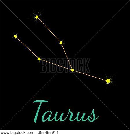 Taurus Vector Constellation With Stars And Name. One Of Twelve Elements Of Western Horoscope. Graphi