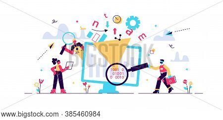 Data Filter Vector Illustration. Flat Tiny Information Selection Persons Concept. Technological Arti
