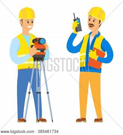 Builder With Walkie Talkie Vector, Male Wearing Helmet And Special Clothes Talking To Colleagues, Ma
