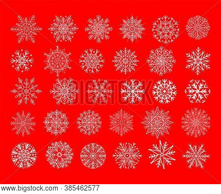 Set of snowflakes on a red festive winter background. Christmas New Year with whites. Christmas and Chinese New Year, pattern of openwork snowflakes. Design element. Vector collection of snowflakes