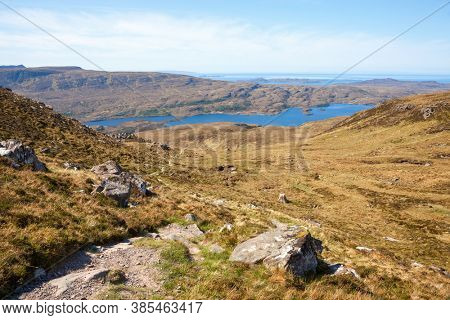 The footpath near the Loch Lurgainn. ( View from Stac Pollaidh  towards Loch Lurgainn), Inverpolly, Northwest Highlands, Scotland, UK
