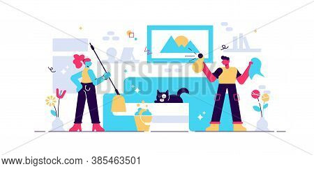 Housework Vector Illustration. Stay At Tidy Home Flat Tiny Persons Concept. Family And Children Toge
