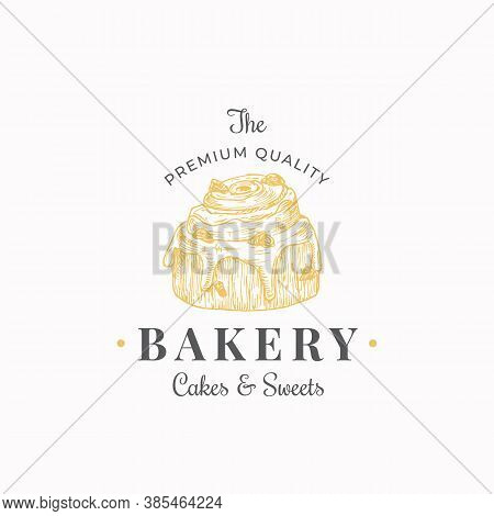 Confectionary Abstract Sign, Symbol Or Logo Template. Hand Drawn Cake Sketch Illustration With Typog