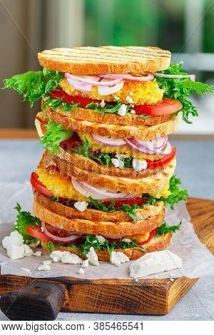 Gourmet Sandwiches With Fried Fish (pollock, Cod, Hake, Nototenia, Perch), Lettuce, Feta Cheese, Tom