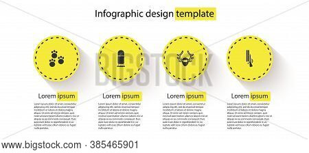 Set Paw Print, Bullet, Deer Antlers On Shield And Shotgun. Business Infographic Template. Vector