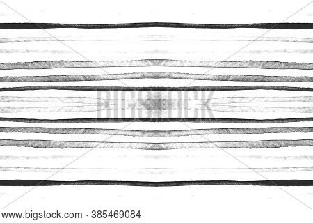 White Stripes Pattern. Abstract Brushstroke Illustration. Water Horizontal Texture. Watercolor Strip