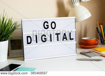 Go Digital And Online Concepts.new Trend With Social Network.disruption Of Business Situation.