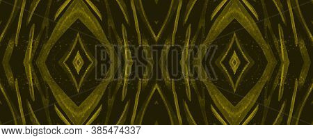 Seamless Safari Background. Abstract African Texture. Yellow Zebra Fur Pattern. Watercolor Stripes.