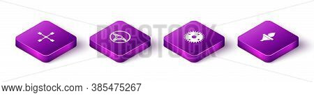 Set Isometric Wheel Wrench, Steering Wheel, Gear And Funnel And Oil Drop Icon. Vector