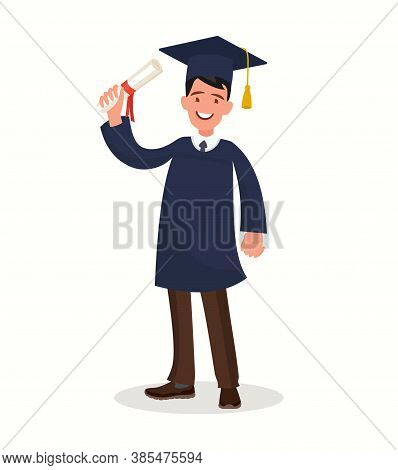 A Graduate With A Diploma. The Guy In The Mantle Finished His Studies At The University.