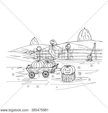 Halloween Coloring With Scarecrow Garden, Pumpkin On A Stump, Broom, Cart With Crops, Hedge, Fields,