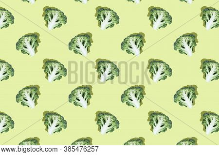 Broccoli Slices On Bright Green Background.seamless Regular Pattern.top View.photo Collage,hard Ligh