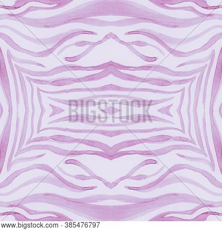Pink African Print. Watercolor Safari Skin Pattern. Pastel Fashion Jungle Wallpaper. Wild Lines Desi