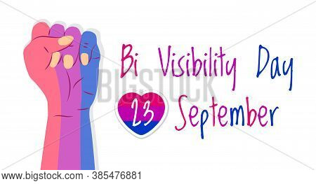Bisexuality Day Concept Vector. Hand Is Painted In Bisexual Pride Colors. Heart With Pink Stripes An