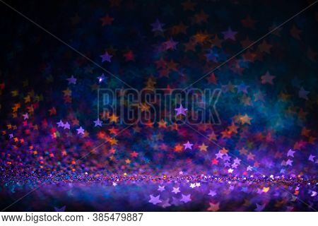 Festive Twinkle Lights Background, Abstract Shiny Backdrop With Circles, Modern Design Wallpaper Wit