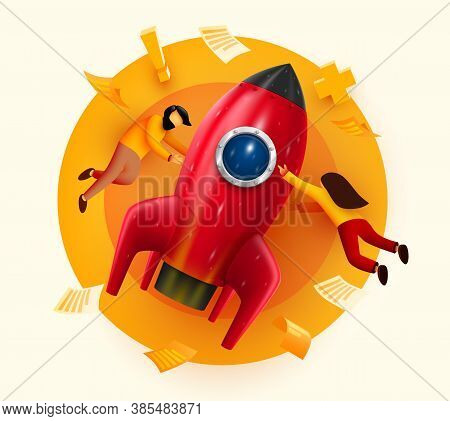 People Flying Around Big Rocket. Startup And Starting Business Concept. Web Page, Banner, Presentati