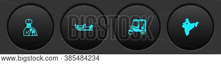 Set Indian Man Plays Flute, Shoes, Taxi Tuk Tuk And Map Icon. Vector