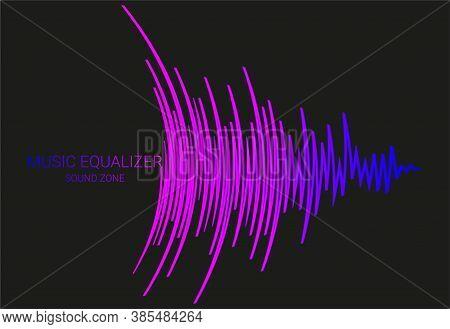 Vector Music Wave Energy Logo. Color Pulse Audio Player Banner. Futuristic Waveform Technology Illus